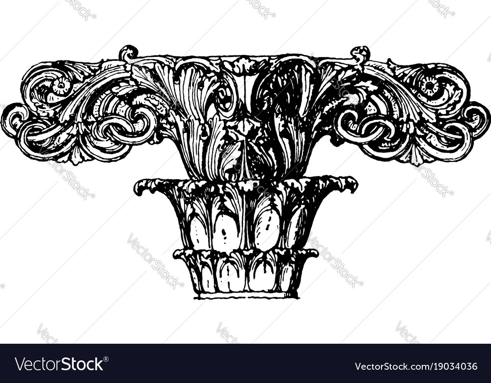 Finial stone roof vintage engraving vector image