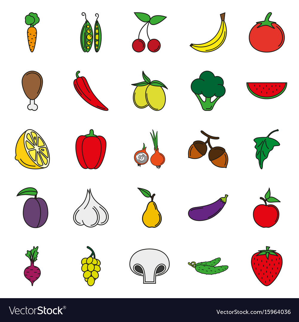 Food icon set color vegetables and meat