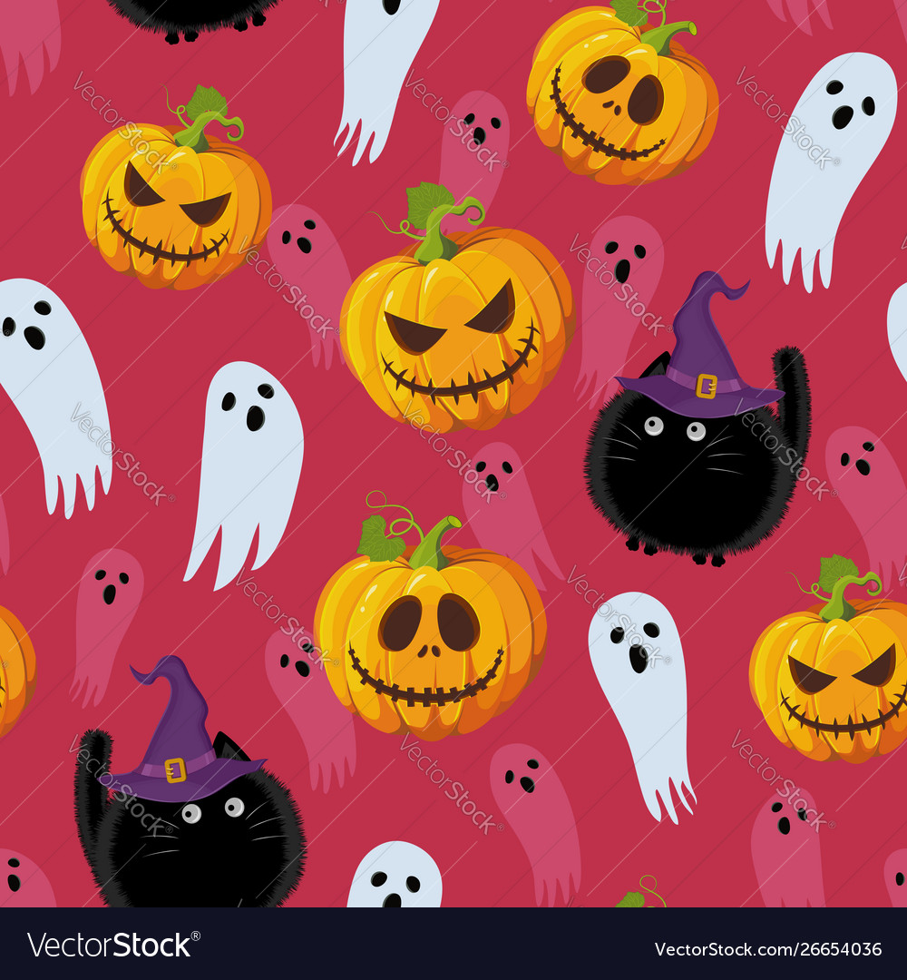 Halloween seamless pattern on red pink background