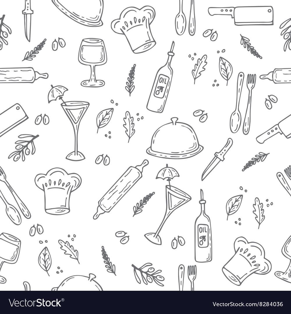 Hand drawn food seamless pattern Sketch kitchen