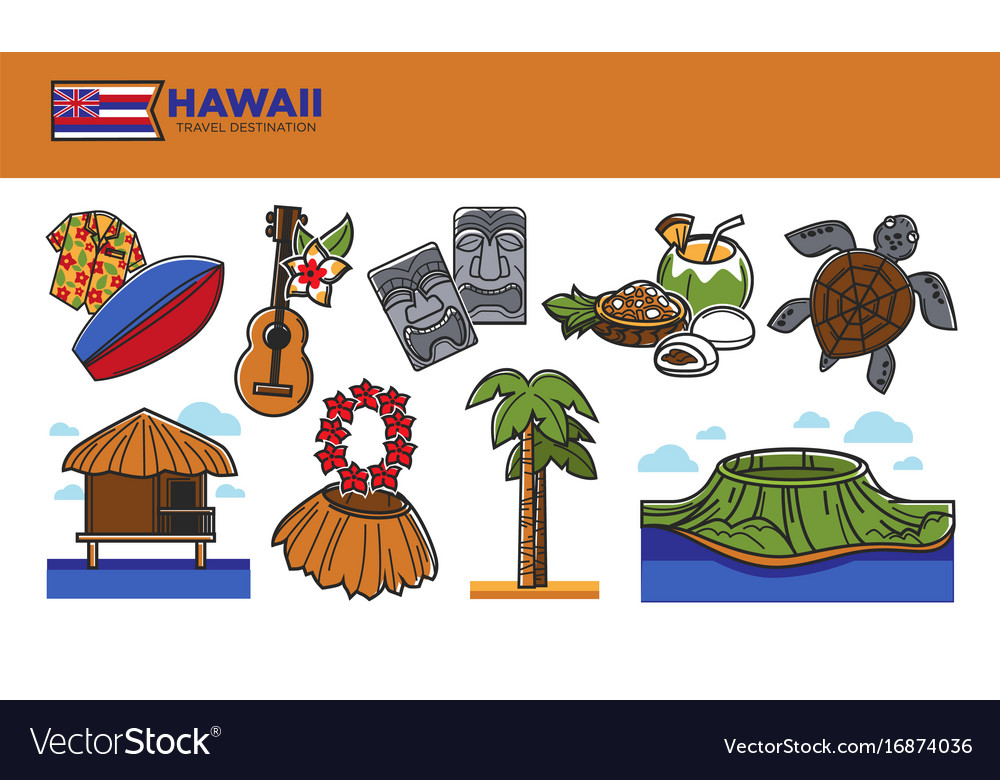 Hawaii travel destination promotional poster with