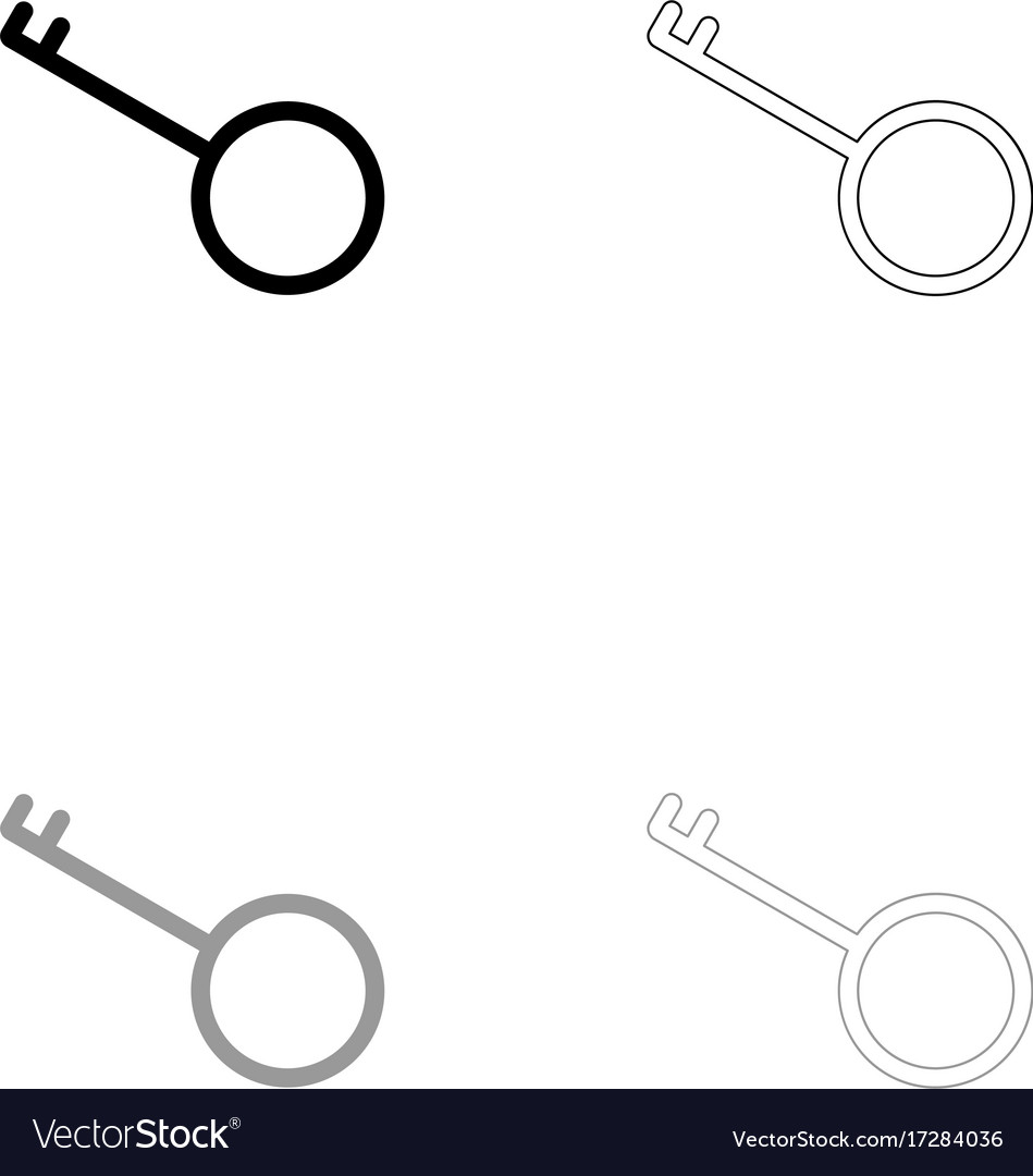 Key black and grey set icon vector image
