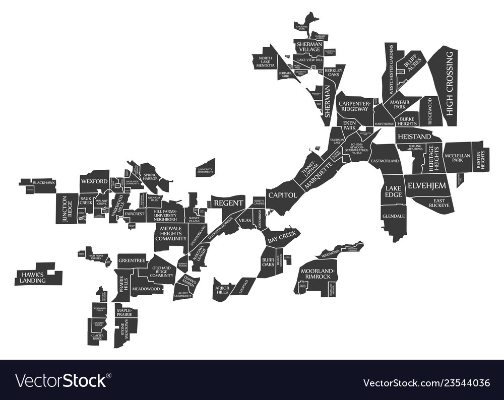 Madison wisconsin city map usa labelled black