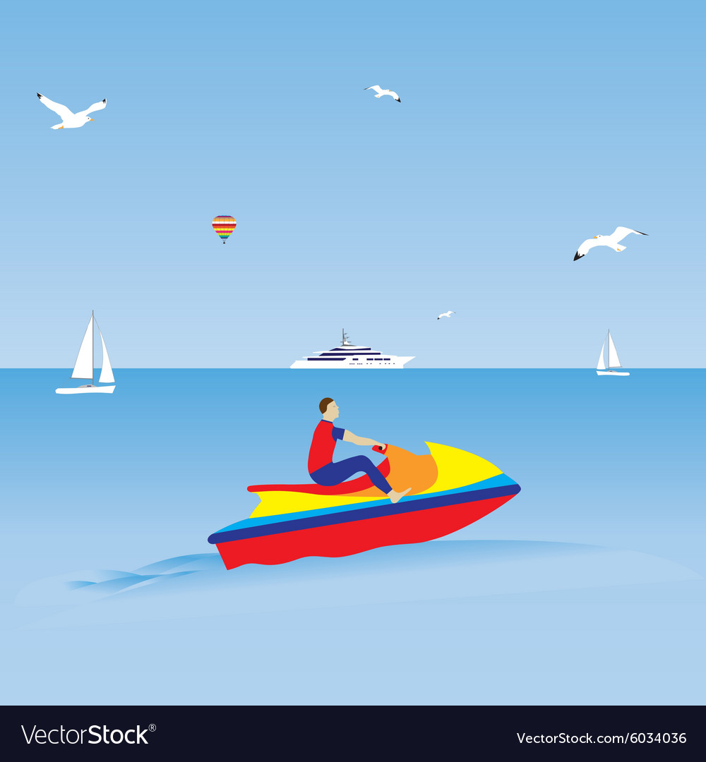 Man on a jet ski Water sports Summer vacation
