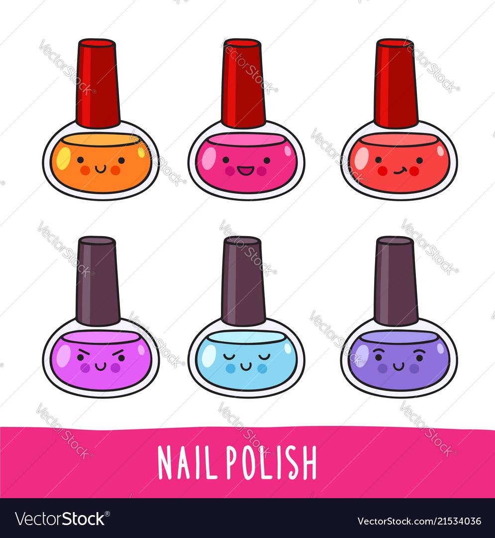 Nail polish set of cute cartoon doodle character Vector Image