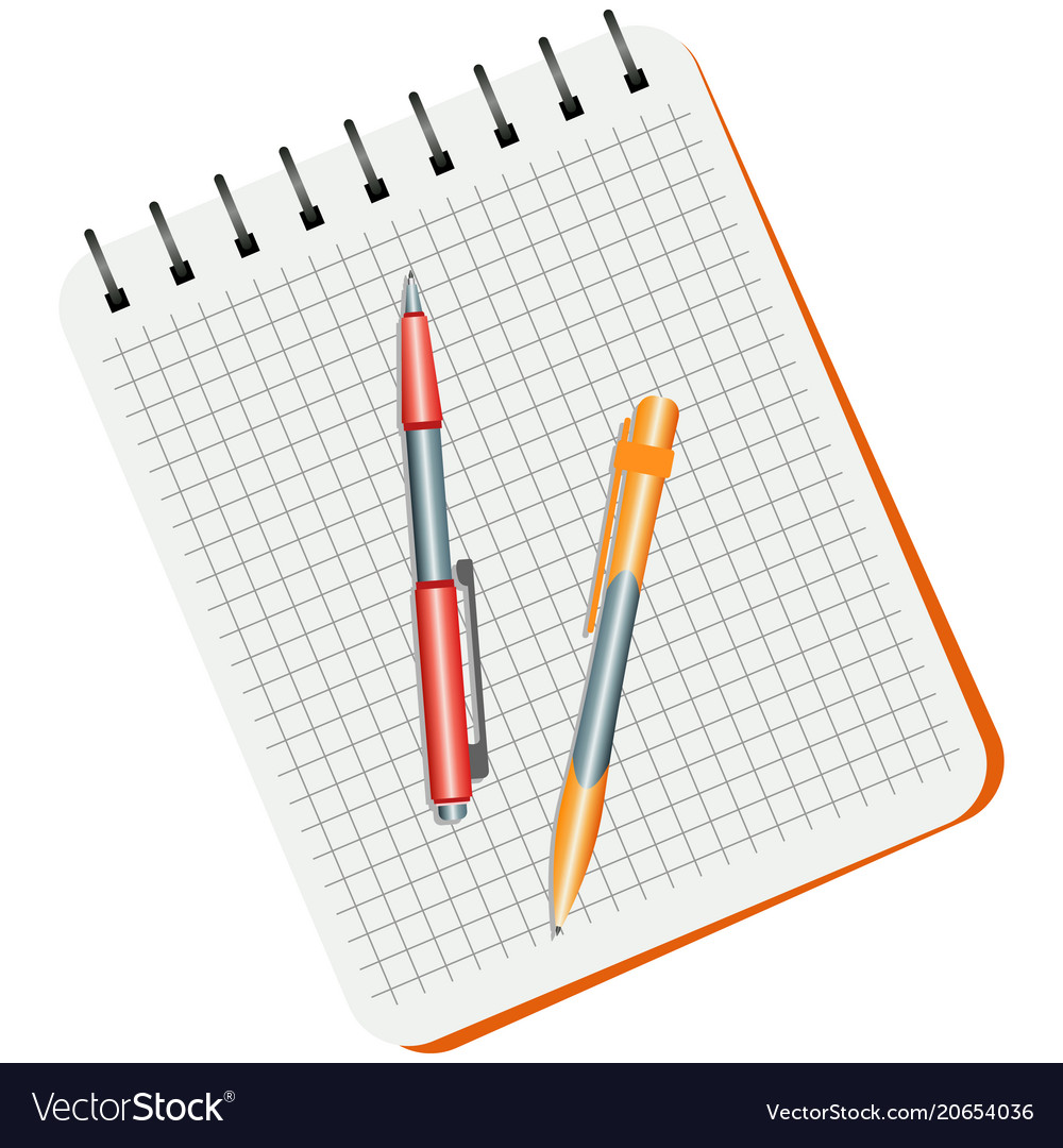 Notebook Red Pen And Yellow Royalty Free Vector Image Ballpoint Diagram Notepad Stock Photos