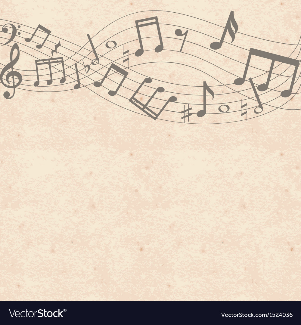 Old cardboard texture with music notes border vector image