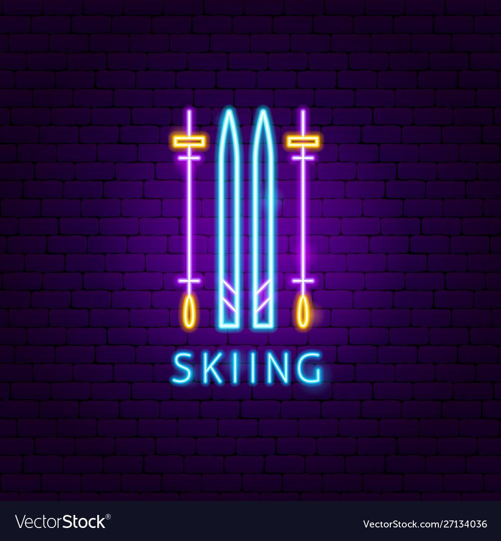 Skiing neon label