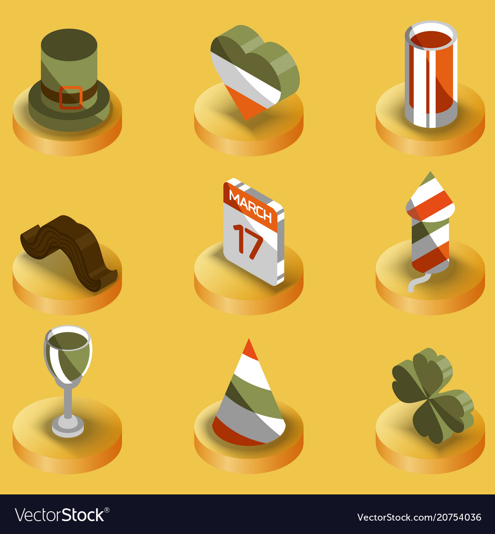 Stpatricks day color isometric icons