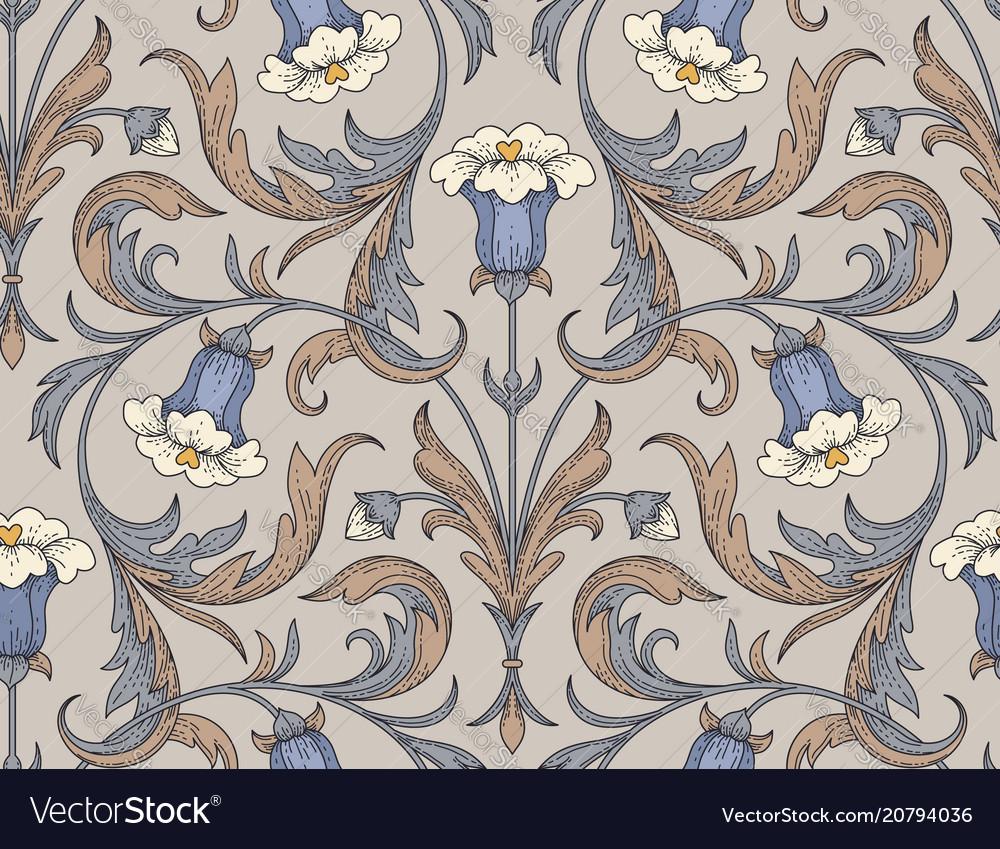 Vintage bellflowers pattern