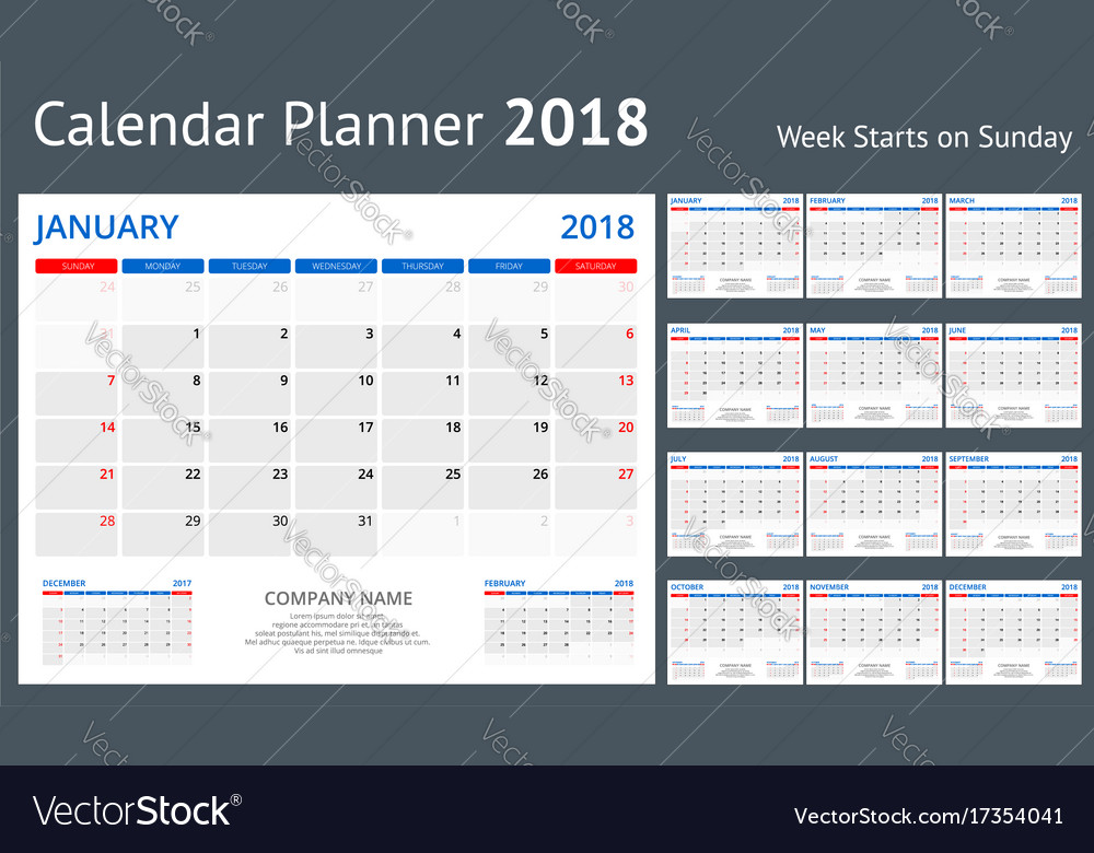 2018 calendar print template week starts sunday
