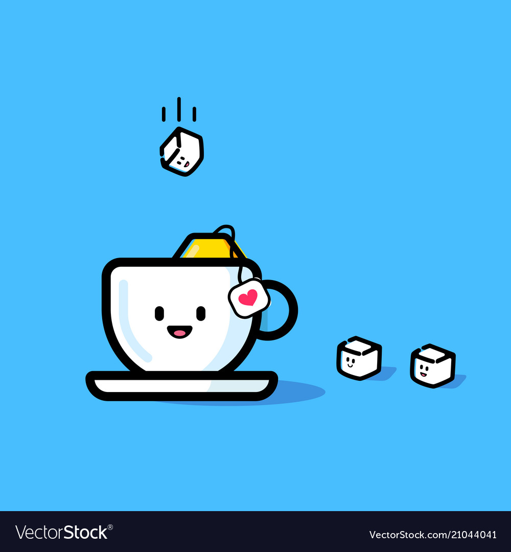 A cube of sugar flies into a mug vector image