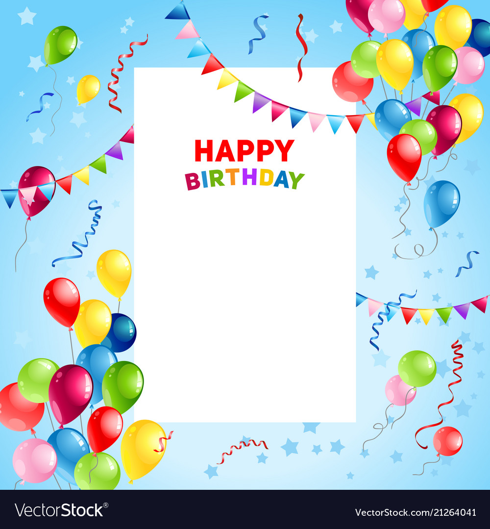 Balloons Happy Birthday Card Template Vector Image