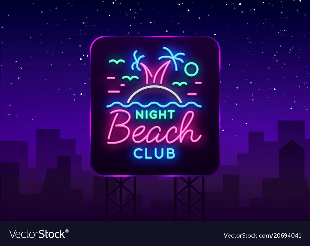 Beach nightclub neon sign logo in neon style