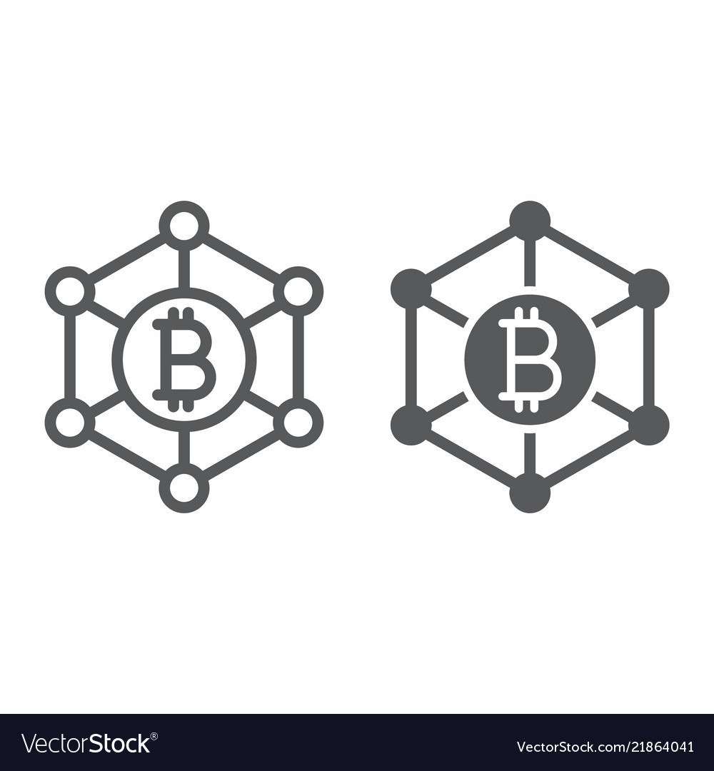 Bitcoin network line and glyph icon money