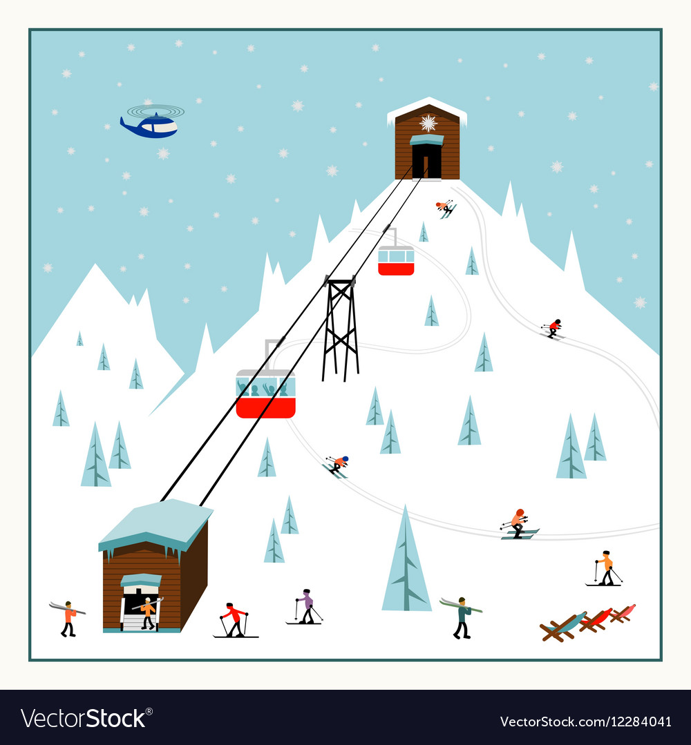 Cool pastel Cartoon ski poster The mountain