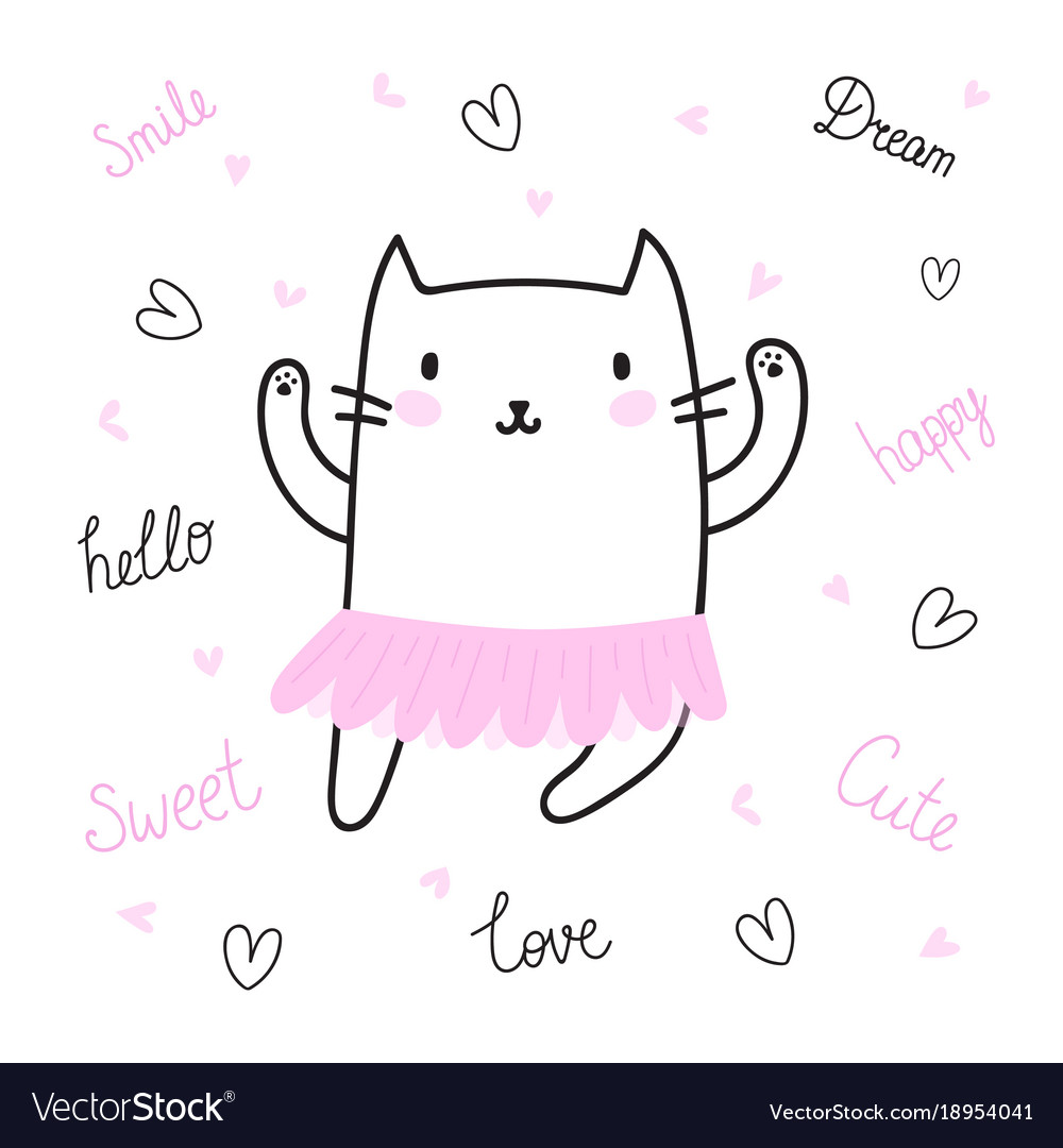 Cute hand drawn postcard with funny cat dressed