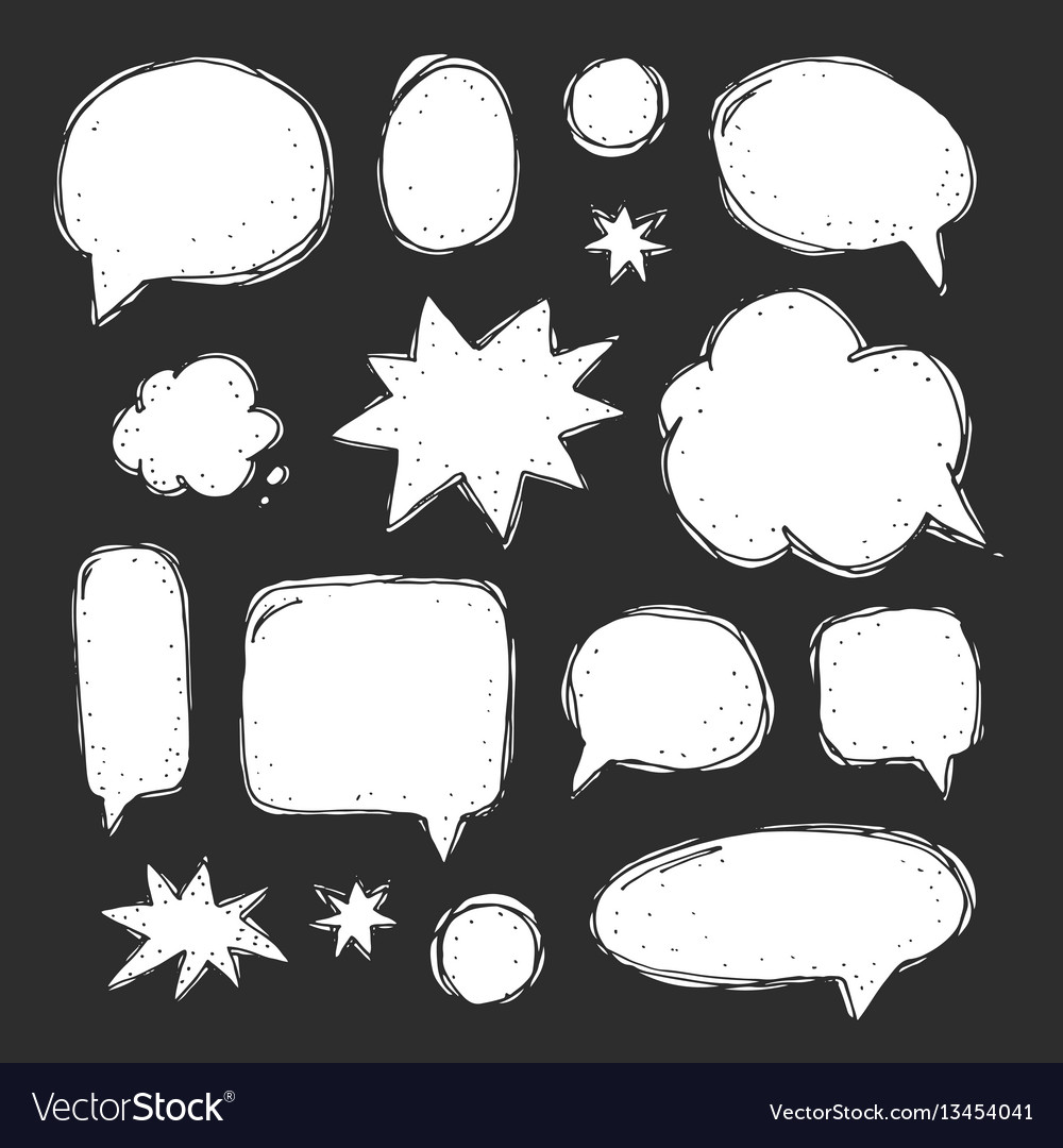 Handwriting set of speech bubbles vector image