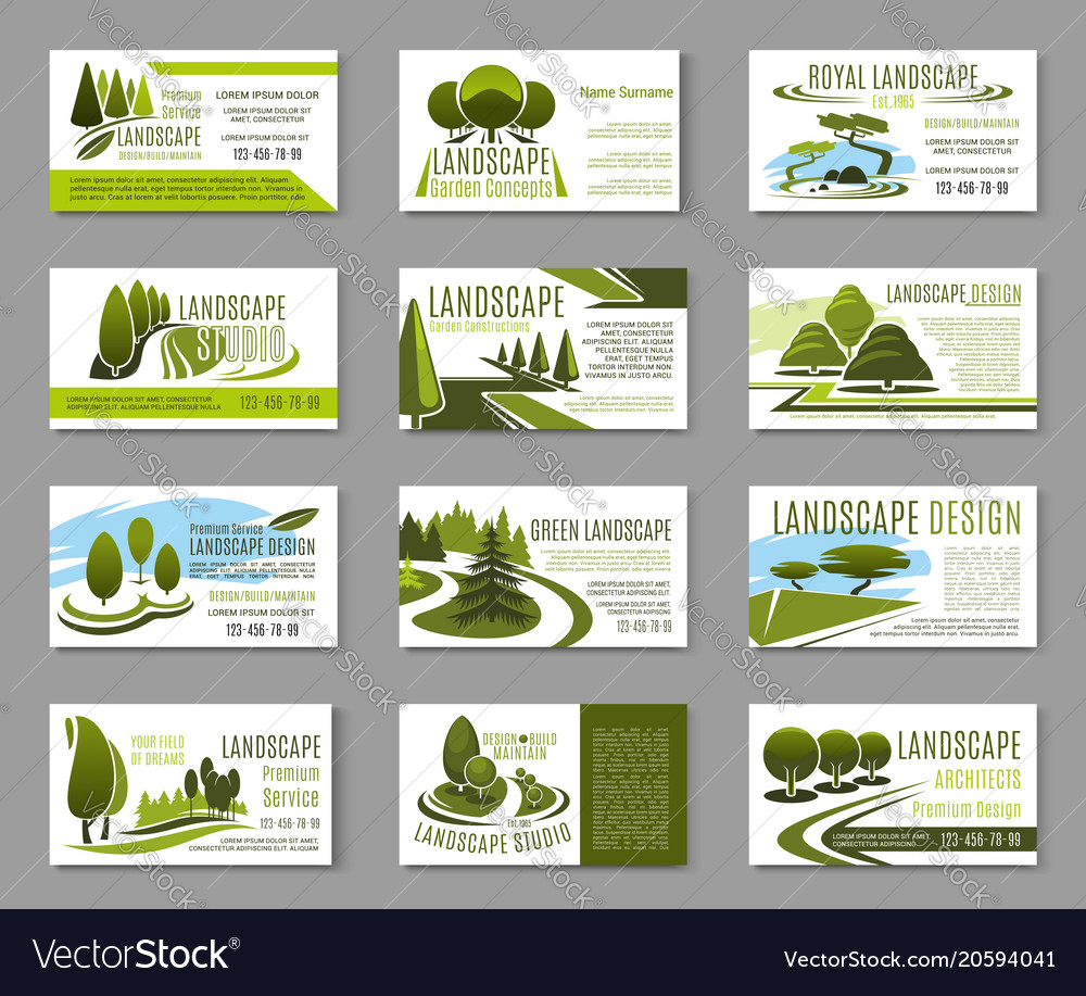 Landscape Design Studio Business Card Template Vector Image - Landscaping business card template