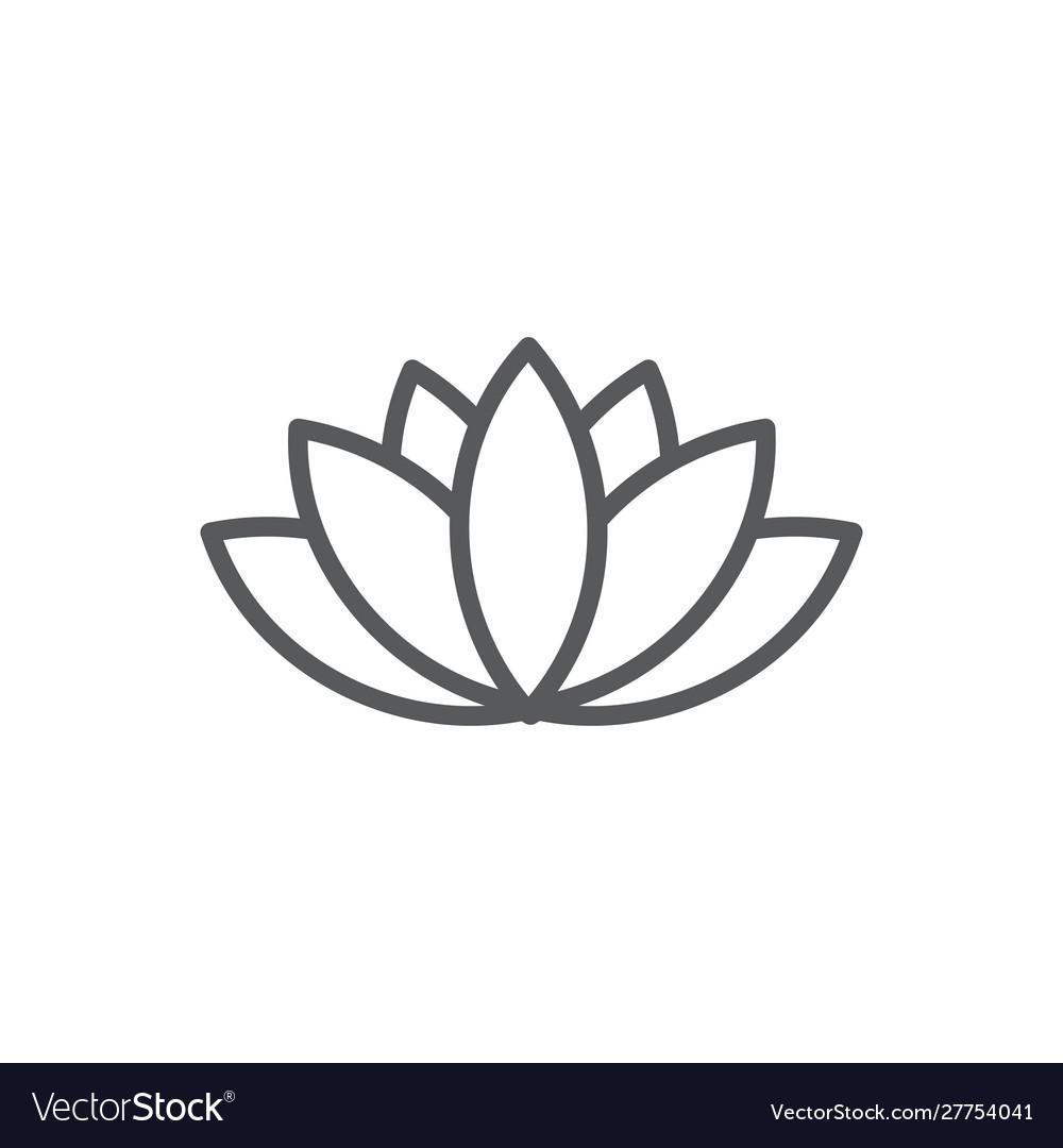 Lotus line icon on white background
