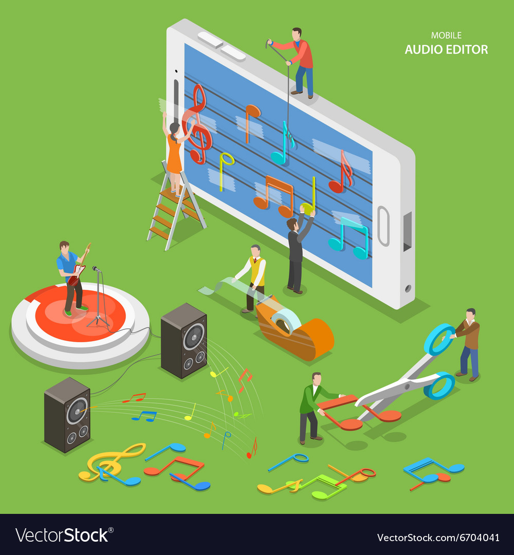 Mobile audio editor flat isometric concept