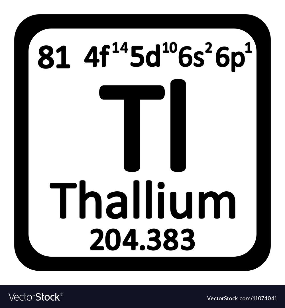 Periodic Table Element Thallium Icon Royalty Free Vector