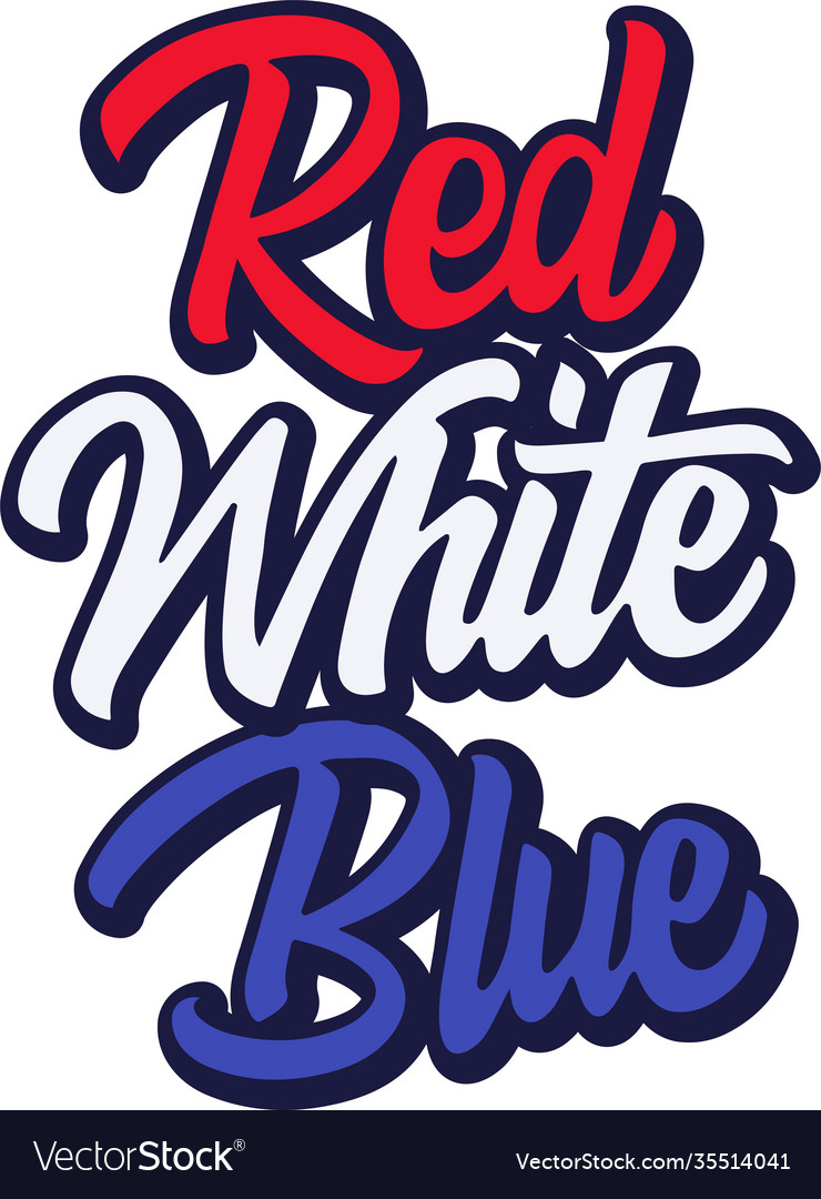 Red white blue on white background