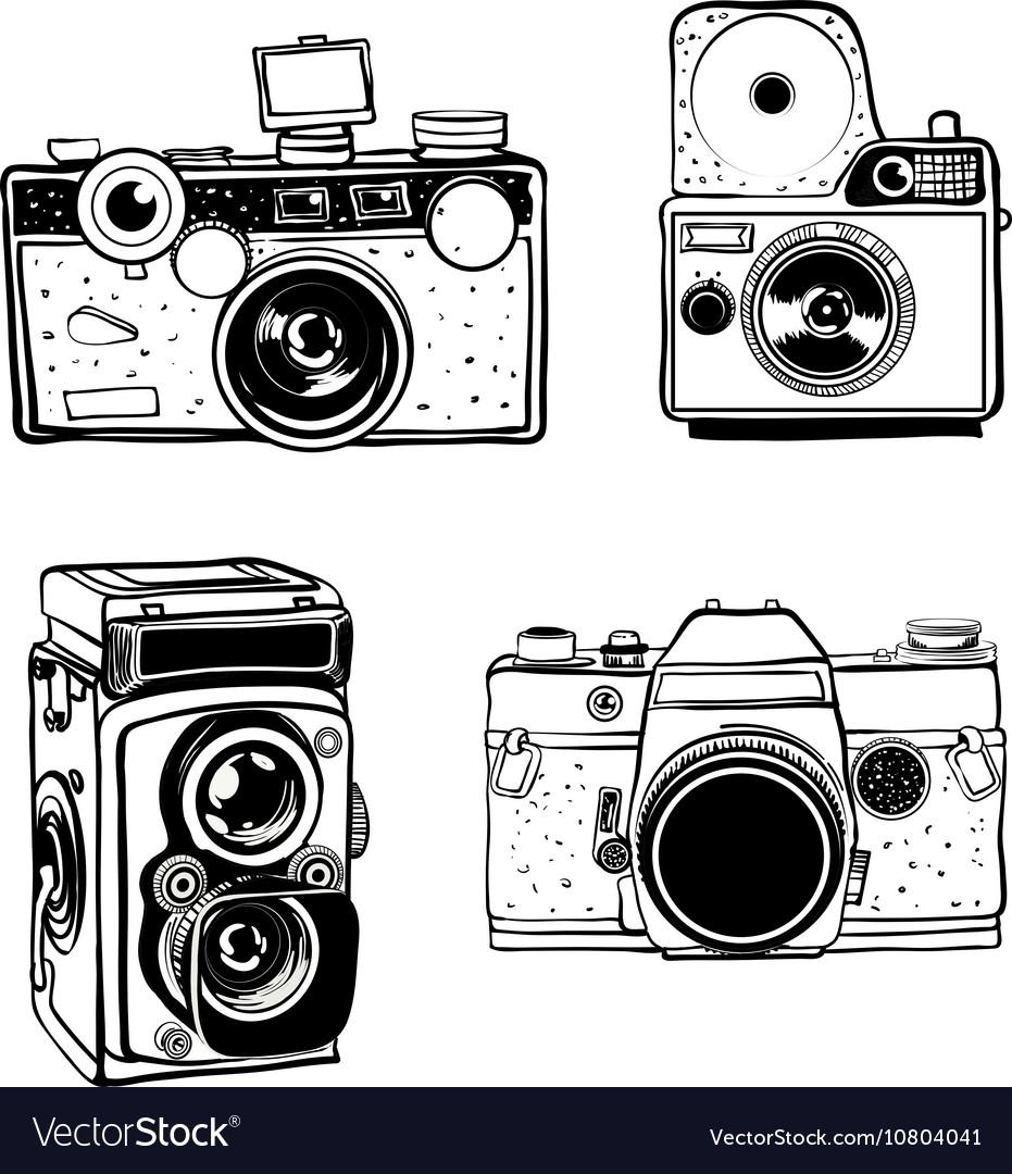 Retro photo camera set doodle