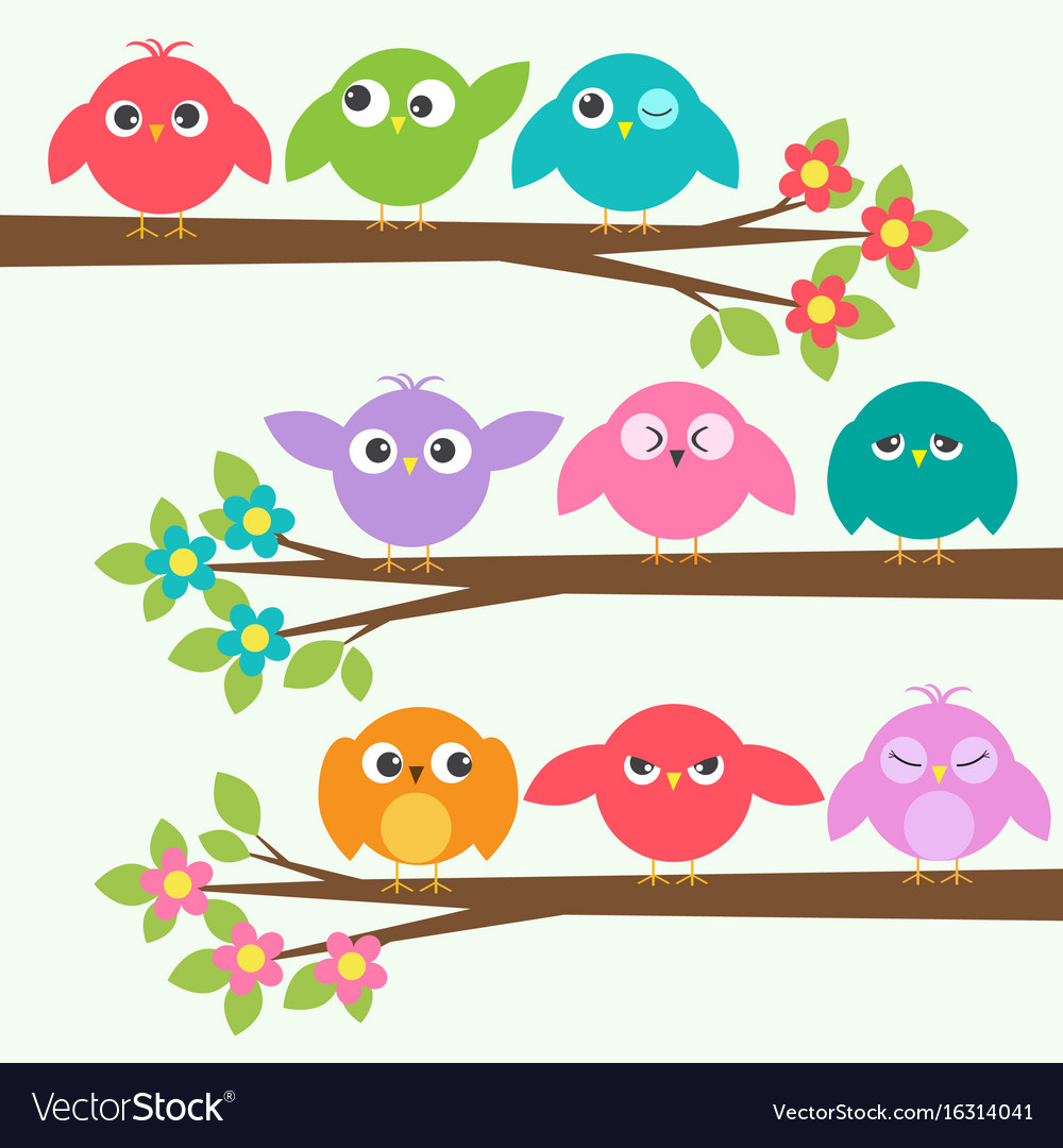 Set of cute birds with different emotions on