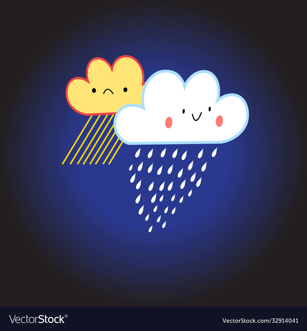 Smiling cloud with rain and snow