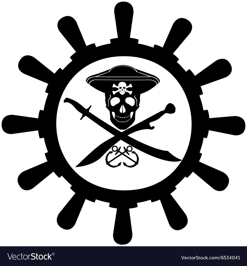 Steering Wheel A Pirate Ship Royalty Free Vector Image