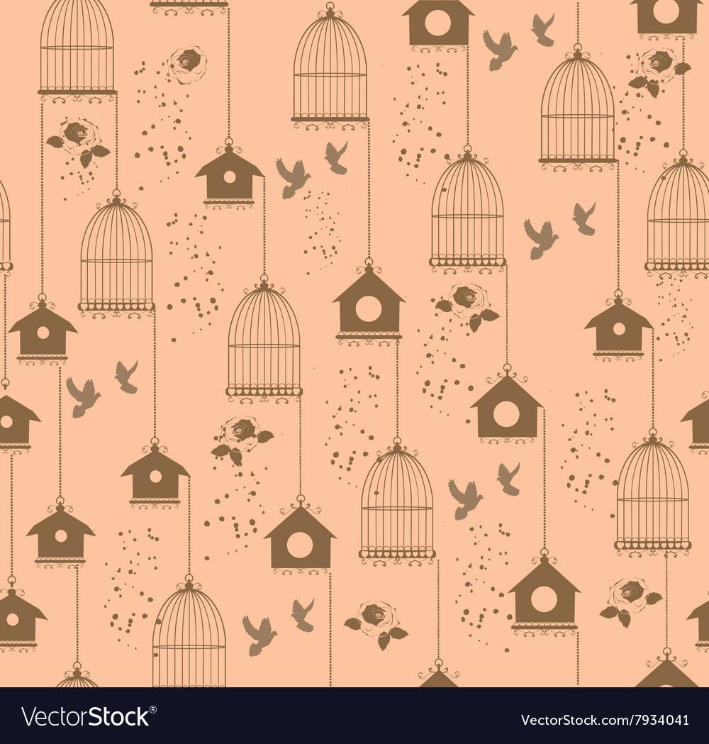 Vintage bird house seamless