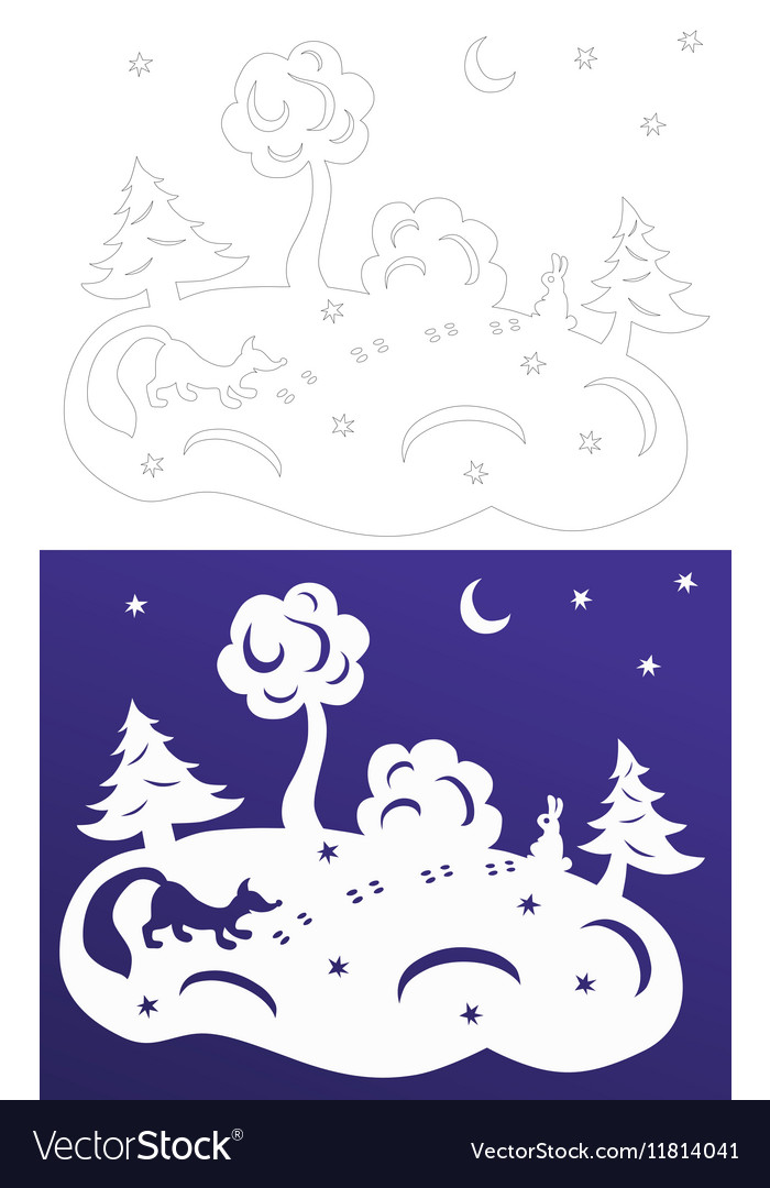 Winter paper cut Snow-covered trees Hare and fox