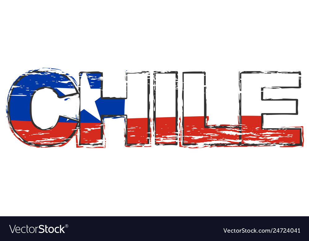 Word chile with chilean national flag under it