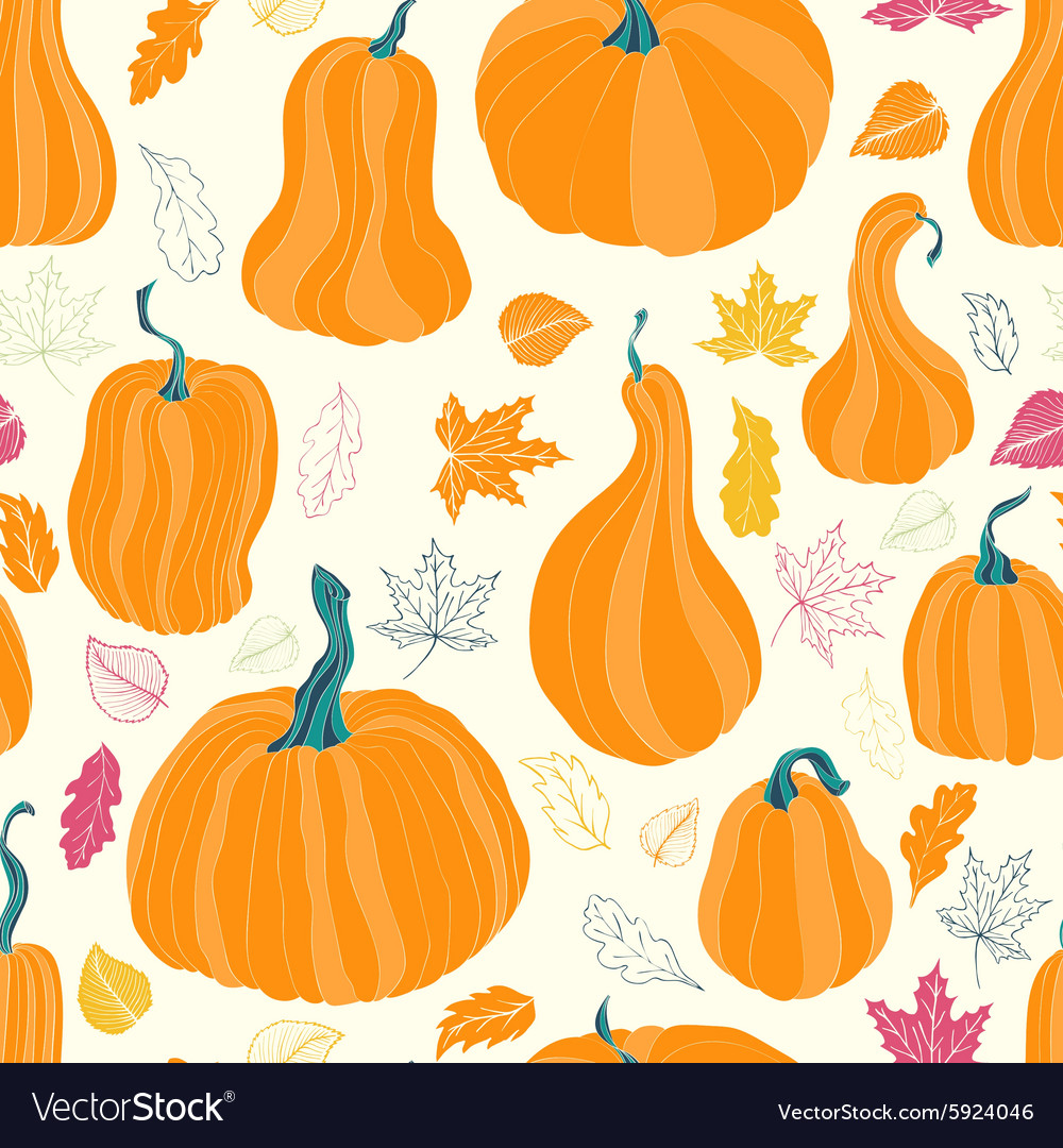 Autumn pumpkins and leaves vector image