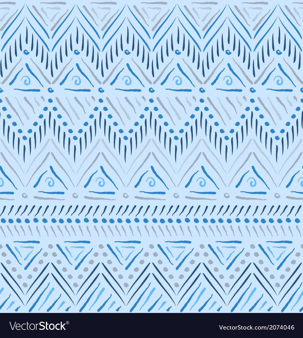 Blue tribal ethnic seamless pattern
