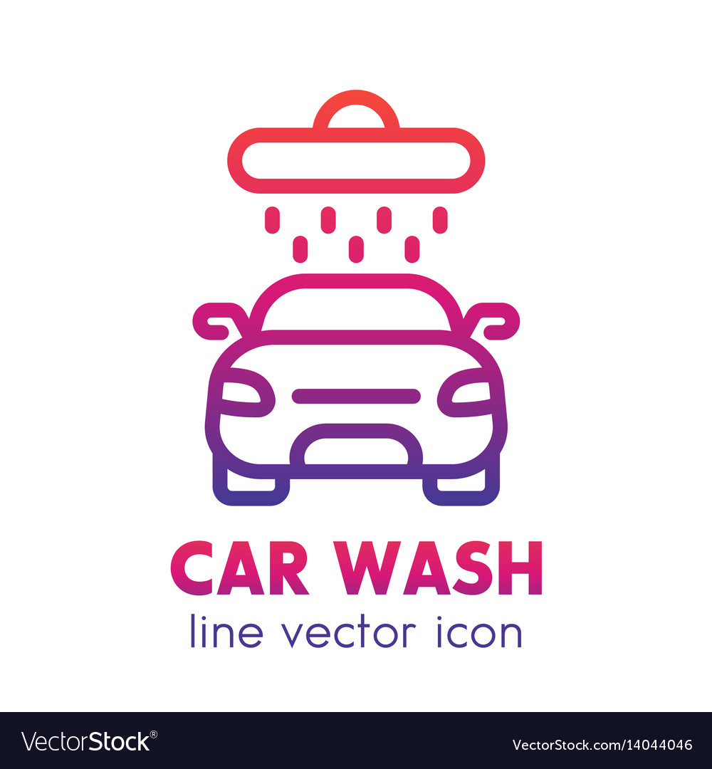 Car wash icon linear logo element over white