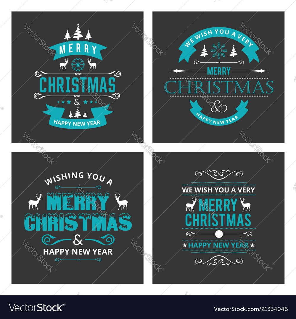 Christmas card sets black background Royalty Free Vector