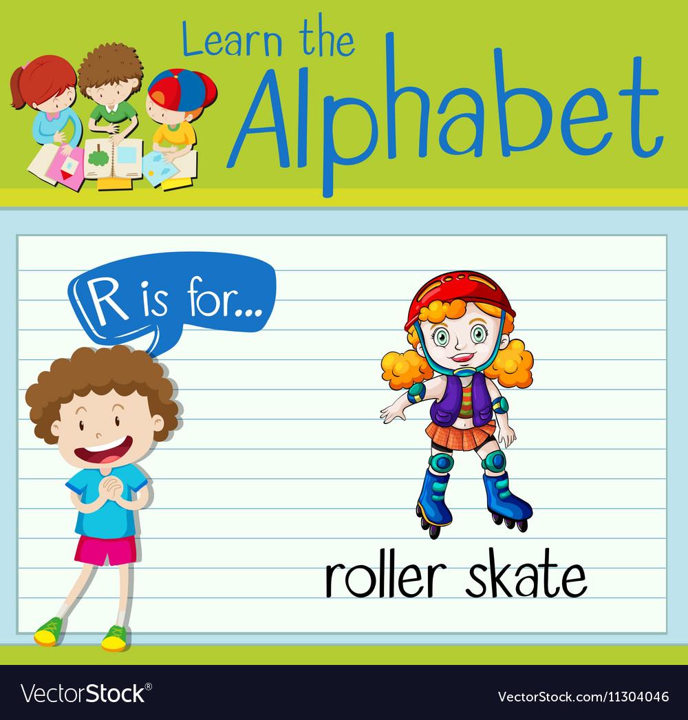 Flashcard letter R is for roller skate