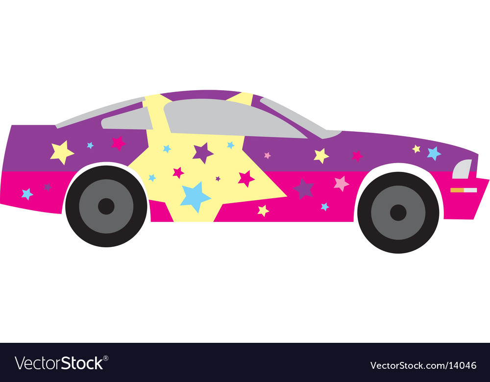 Girly star race car vector image