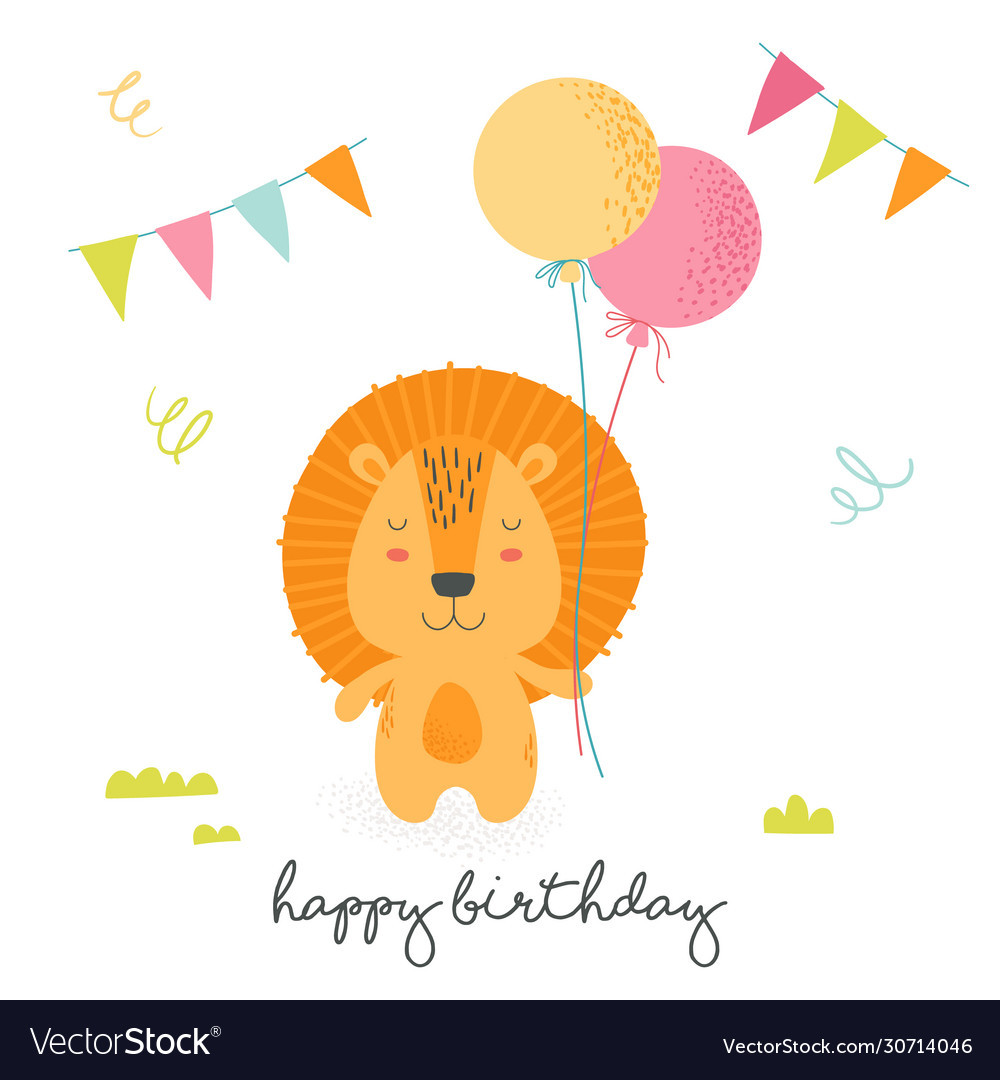 Happy birthday greeting card with cute cartoon