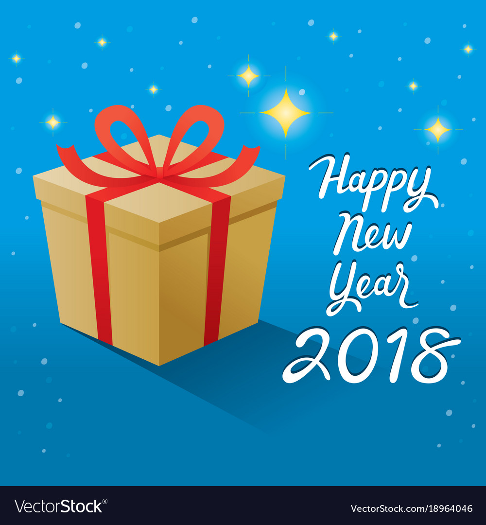 Happy new year 2018 text and gold gift box with