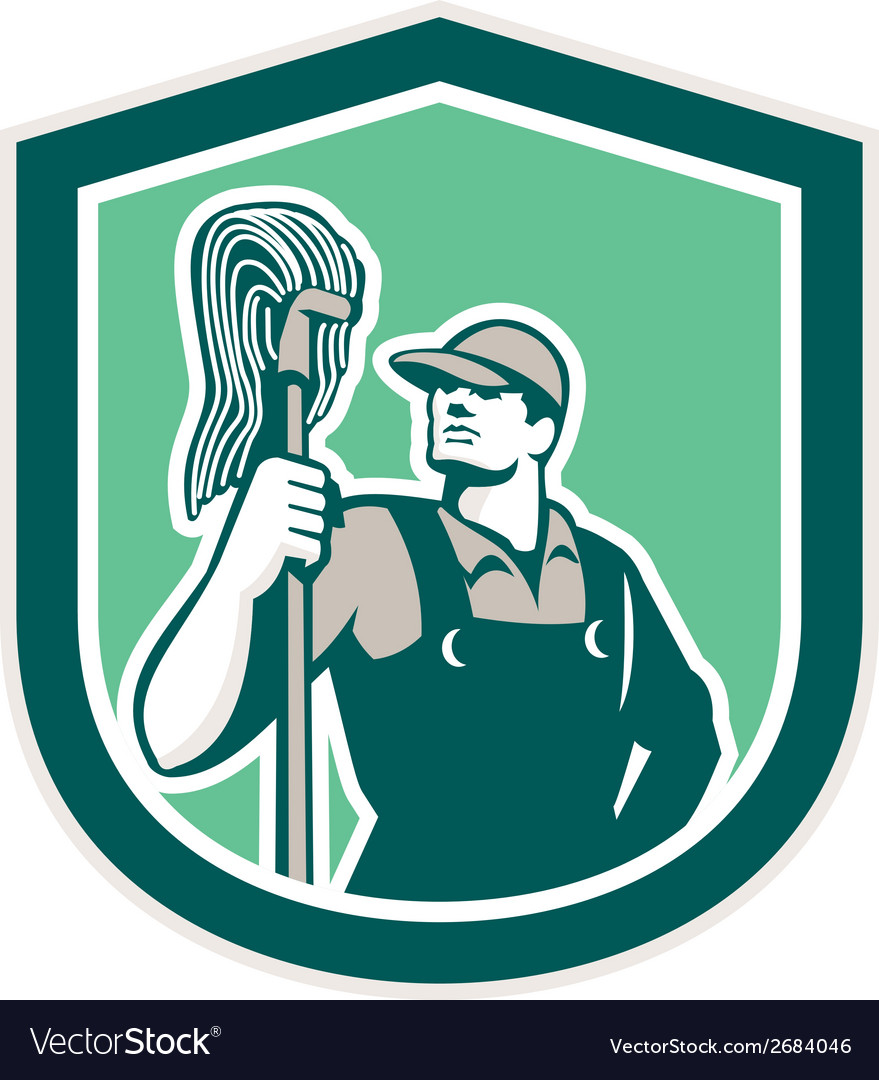 Janitor Cleaner Holding Mop Shield Retro vector image