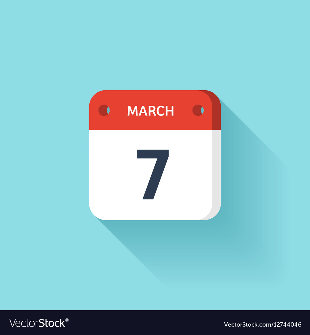 March 7 Isometric Calendar Icon With Shadow