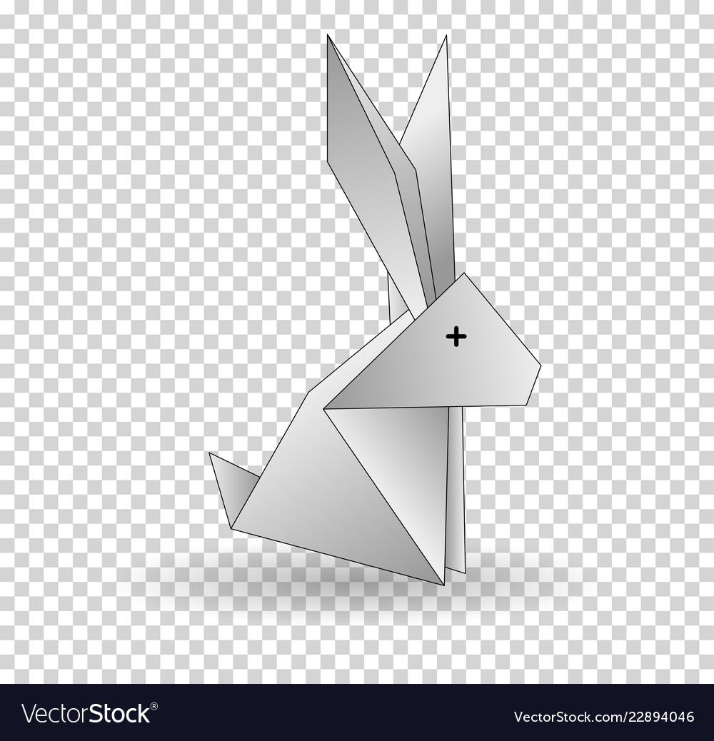 Origamo rabbit white rabbit abstract isolated on