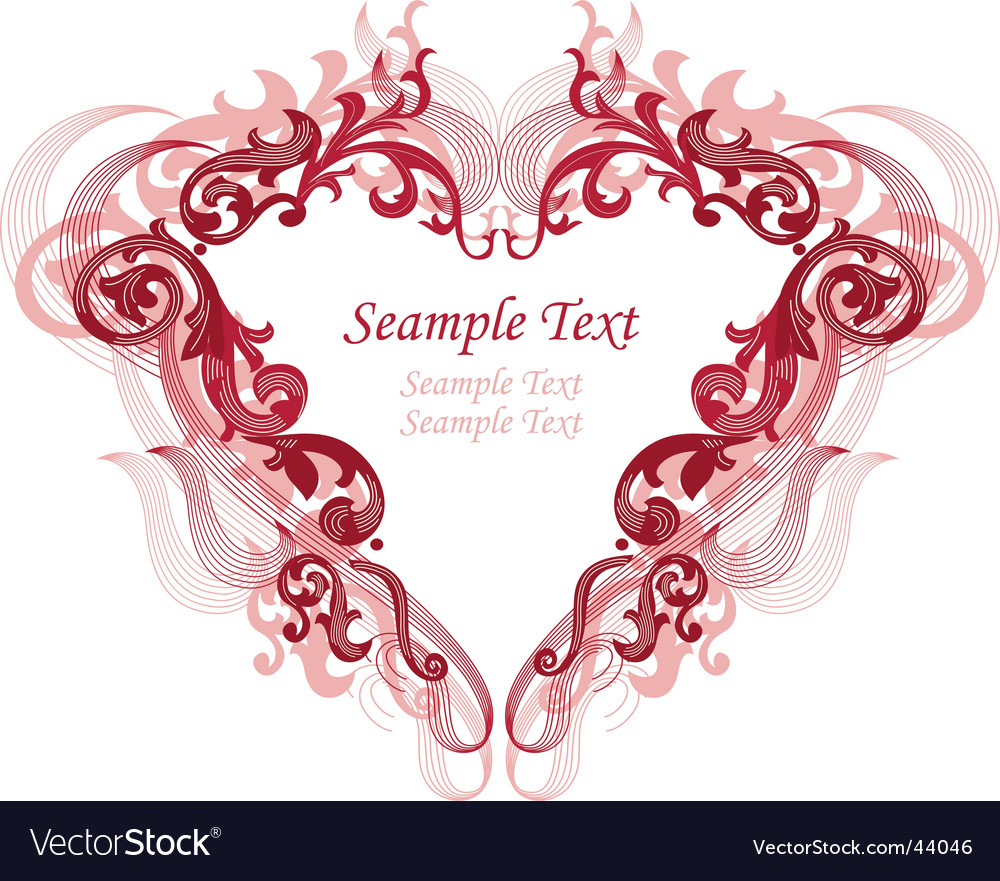 Red heart with filigree ornament vector image