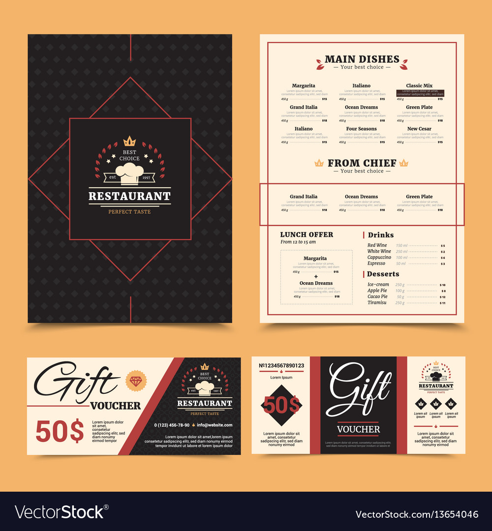 Restaurant menu gift card set design vector image