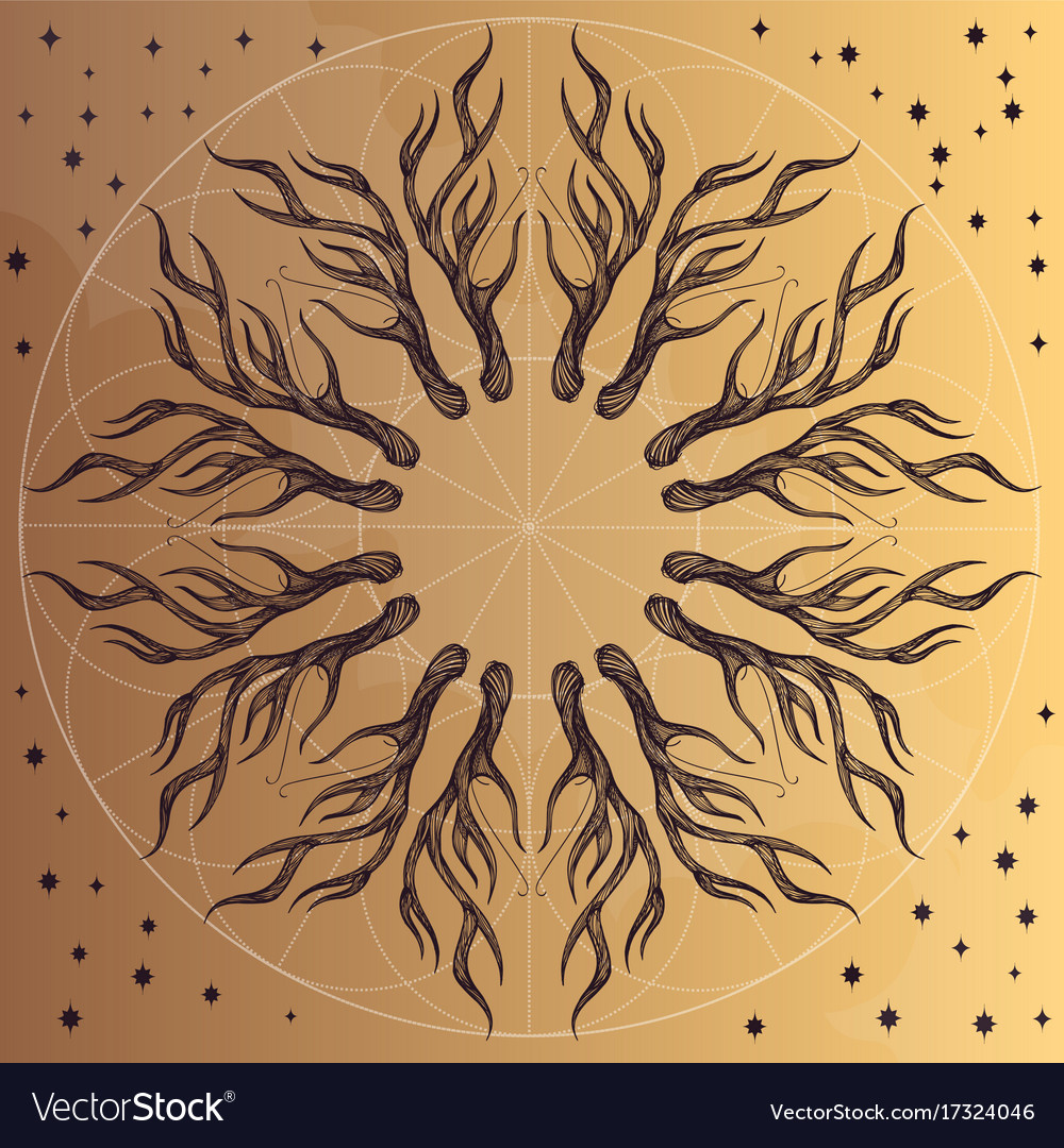 Round ornament with deer antlers for posters vector image