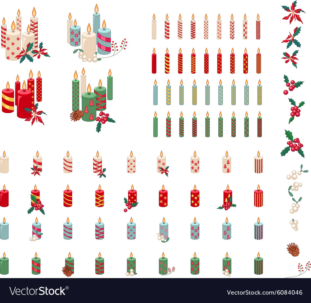 Set of different candles with Christmas decoration vector image