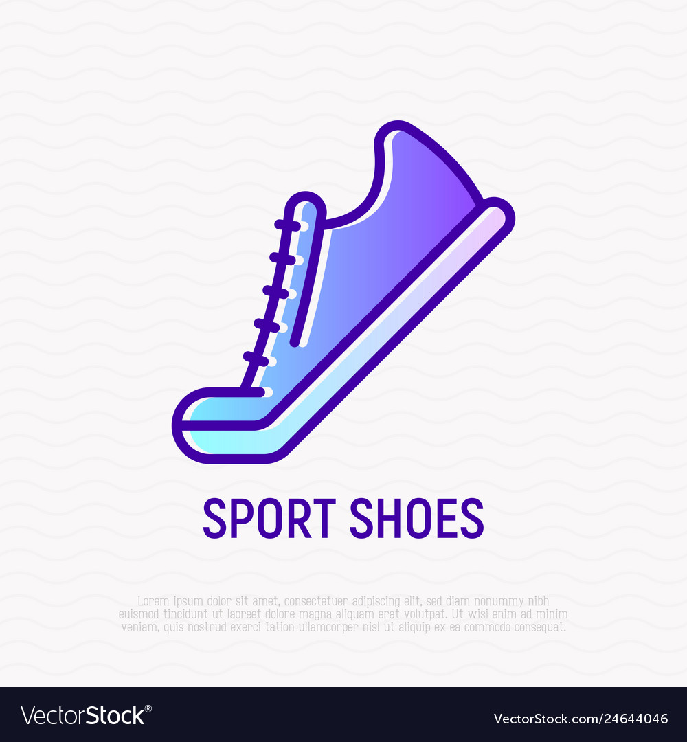 Sport shoes thin line icon